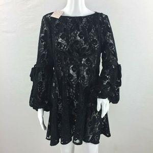 Free people lace tunic dress size small black